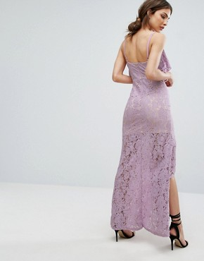 photo Strappy Lace Thigh Split Maxi Dress by Missguided, color Lilac - Image 2