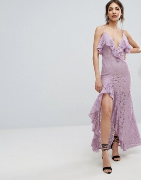 photo Strappy Lace Thigh Split Maxi Dress by Missguided, color Lilac - Image 1