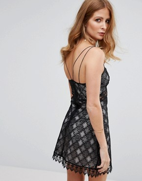 photo Notting Hill Lace Slip Dress by Millie Mackintosh, color Black - Image 2