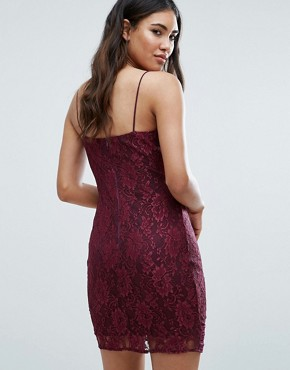 photo Lace Bodycon Dress with Double Straps by AX Paris, color Purple - Image 2