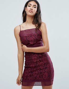 photo Lace Bodycon Dress with Double Straps by AX Paris, color Purple - Image 1