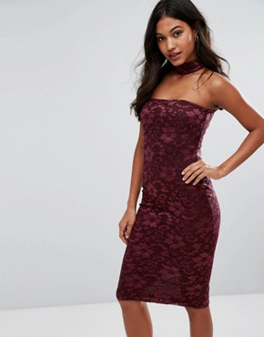photo Choker Neck Midi Lace Dress by AX Paris, color Wine - Image 1