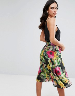photo Chiffon Floral Midi Skater Dress with Plain Top by AX Paris, color Black - Image 2
