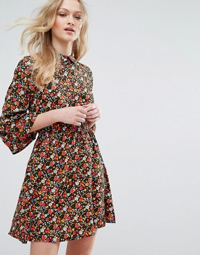 photo Collared Flared Sleeve Dress in Floral Print by Influence, color Multi - Image 1