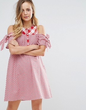 photo Tie Sleeve Cold Shoulder Swing Dress in Gingham Mix and Match by Influence, color Red/White - Image 1