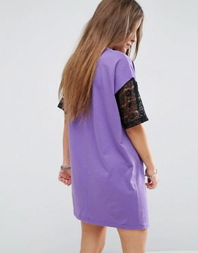 photo T-Shirt Dress with Lace Insert and Motif by ASOS PETITE, color Purple - Image 2