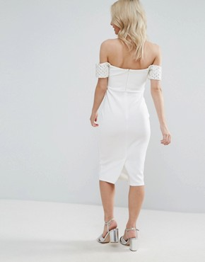 photo Embellished Cuff Midi Bodycon Dress by ASOS PETITE, color Ivory - Image 2