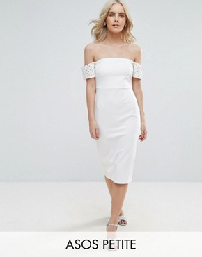 photo Embellished Cuff Midi Bodycon Dress by ASOS PETITE, color Ivory - Image 1