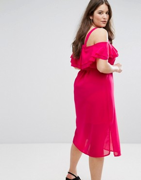 photo Cold Shoulder Layered Midi Dress by New Look Plus, color Pink - Image 2