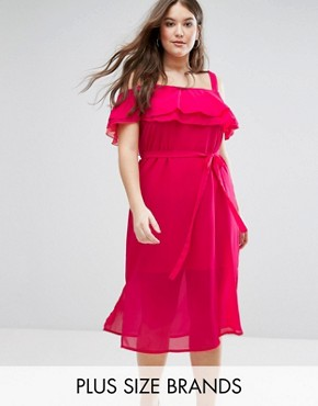 photo Cold Shoulder Layered Midi Dress by New Look Plus, color Pink - Image 1