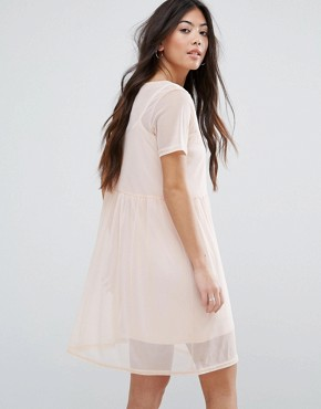photo Smock Mesh Dress by New Look Petite, color Shell Pink - Image 2