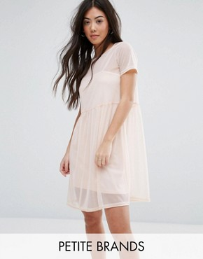 photo Smock Mesh Dress by New Look Petite, color Shell Pink - Image 1
