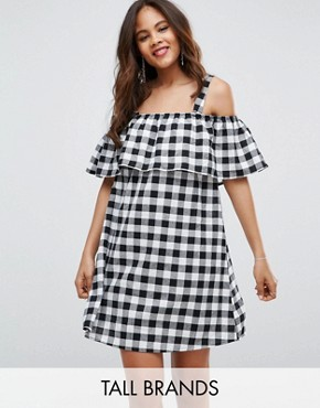 photo Frill Cold Shoulder Gingham Dress by Influence Tall, color Black White Gingham - Image 1