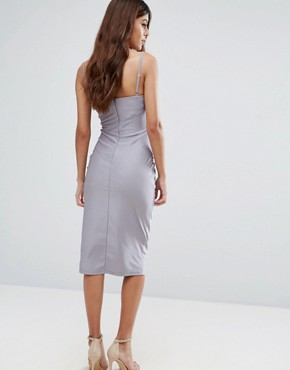 photo Strappy Cut Out Cup Midi Dress by Rare, color Grey - Image 2