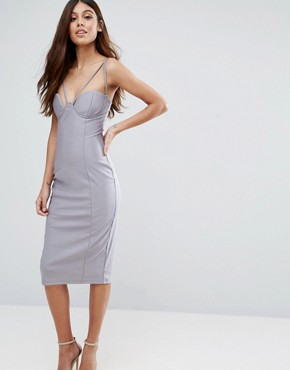 photo Strappy Cut Out Cup Midi Dress by Rare, color Grey - Image 1