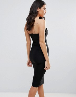 photo Lace Up Bustier Bodycon Dress by Rare, color Black - Image 2