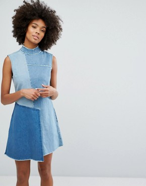 photo Denim High Neck Dress with Contrast Panels and Fraying by Waven, color Old Used Blue Mix - Image 1
