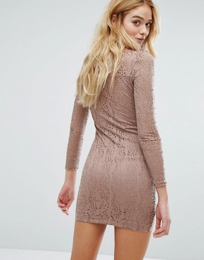 photo Laser Cut Mini Dress by Vila, color Rose Dawn - Image 2