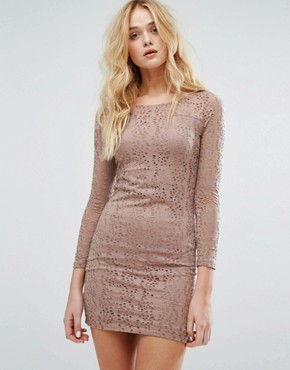 photo Laser Cut Mini Dress by Vila, color Rose Dawn - Image 1