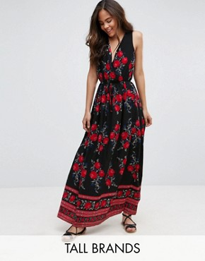 photo Printed Maxi Dress by Parisian Tall, color Black/Red - Image 1