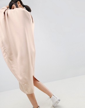 photo Drape Side Midi Dress by ASOS WHITE, color Taupe - Image 2