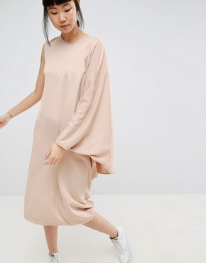 photo Drape Side Midi Dress by ASOS WHITE, color Taupe - Image 1