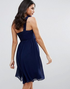 photo One Shoulder Prom Dress with Floral Corsage by Little Mistress, color Navy - Image 2