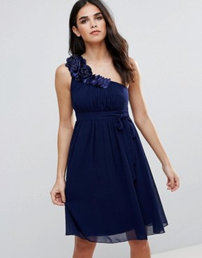 photo One Shoulder Prom Dress with Floral Corsage by Little Mistress, color Navy - Image 1