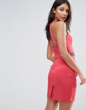 photo Embellished Cut Out Bodycon Dress by Little Mistress, color Coral - Image 2