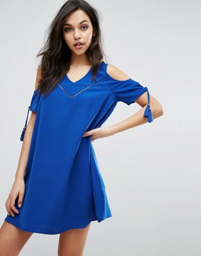 photo Dado Cold Shoulder Dress by Supertrash, color Nomad Blue - Image 1