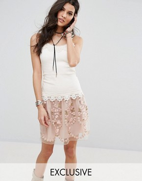 photo Exclusive Lace Tiered Dress by Anna Sui, color Blush Multi - Image 1
