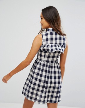 photo Gingham Shirt Mini Dress by QED London, color Navy/Cream - Image 2