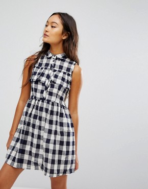 photo Gingham Shirt Mini Dress by QED London, color Navy/Cream - Image 1