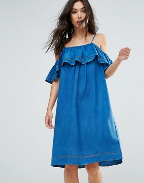 photo Denim Dress with Ruffle by QED London, color Denim - Image 1