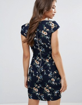 photo Printed Tulip Dress by QED London, color Navy - Image 2