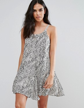 photo Printed Cami Swing Dress by QED London, color Black/Ecru - Image 2