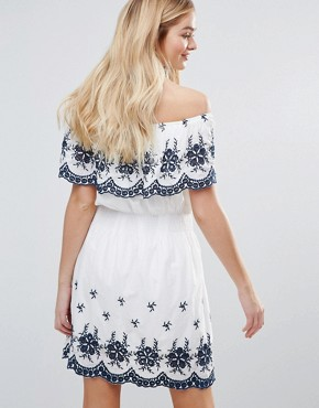 photo Off Shoulder Embroidered Dress by QED London, color White/Navy - Image 2