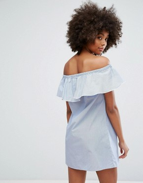 photo Off the Shoulder Stripe Dress with Embroidery by Only, color Cloud Dancer - Image 2