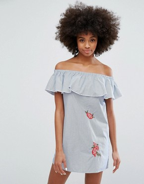 photo Off the Shoulder Stripe Dress with Embroidery by Only, color Cloud Dancer - Image 1