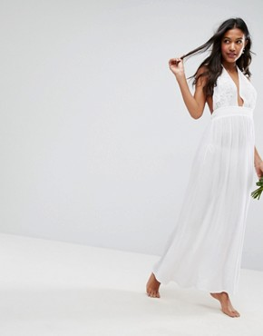 photo Beach Maxi with Applique Detail by ASOS BRIDAL, color White - Image 1