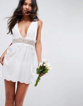 photo Beach Dress with Lace Trim Detail by ASOS BRIDAL, color White - Image 1