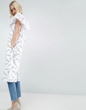 photo Outline Print Frill Midi Dress by ASOS WHITE, color White - Image 2
