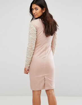 photo Pearl Embellished Front Bodycon Dress by A Star Is Born, color Blush Pink - Image 2