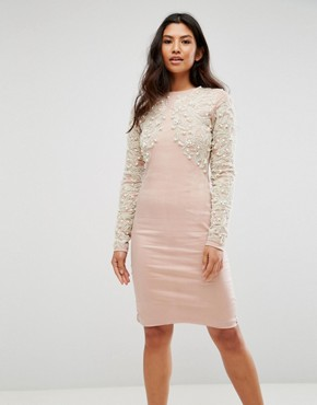 photo Pearl Embellished Front Bodycon Dress by A Star Is Born, color Blush Pink - Image 1