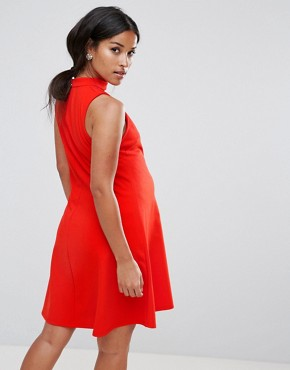 photo Swing Dress in Crepe with Cut Out V-Neck by ASOS Maternity, color Bright Red - Image 2