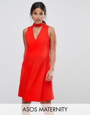 photo Swing Dress in Crepe with Cut Out V-Neck by ASOS Maternity, color Bright Red - Image 1