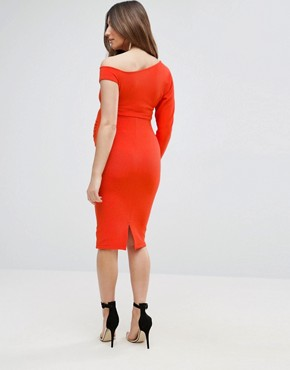 photo One Long Sleeve Rib Dress by ASOS Maternity, color Bright Coral - Image 2