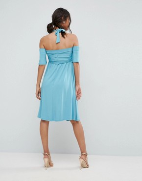 photo Criss Cross Skater Dress with Cold Shoulder by ASOS Maternity, color Blue - Image 2