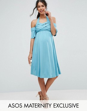 photo Criss Cross Skater Dress with Cold Shoulder by ASOS Maternity, color Blue - Image 1