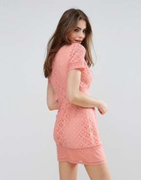 photo Lace Shift Dress by Oasis, color Coral - Image 2